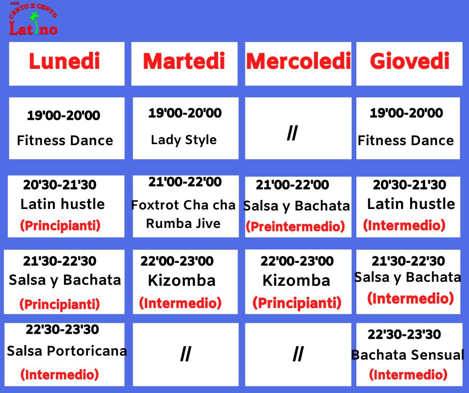 Corsi e Orari Lezioni Scuola di Ballo Cento x Cento latino